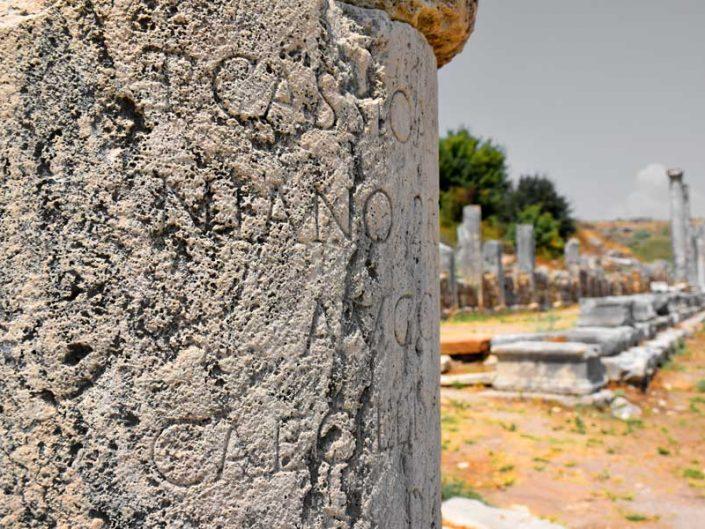 Perge antik kenti sütun yazıtları - Perge ancient city column inscriptions