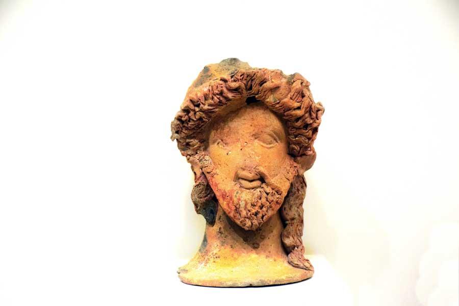 Tekirdağ Arkeoloji ve Etnografya Müzesi Helenistik Dönem pişmiş topraktan Dionysos başı - head of Dionysos, terracotta, Hellenistic Period