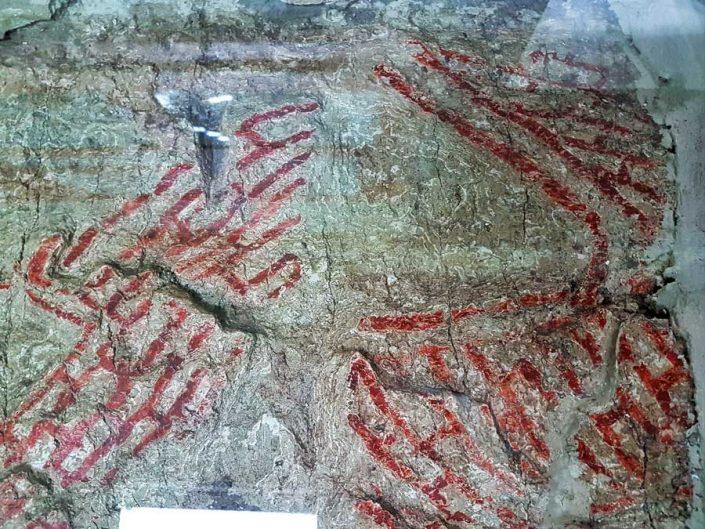 Konya Arkeoloji Müzesi Çatalhöyük geometrik desenli duvar resmi MÖ 6500 - Konya Archaeological Museum Çatalhöyük artifacts geometric patterned mural B.C. 6500