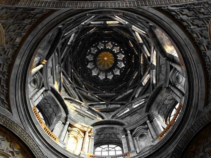 Torino Kraliyet Sarayı Kutsal Örtü Şapeli kubbesi içerden görünüm, mimar Guarino Guarini - Chapel of the Holy Shroud view of the dome