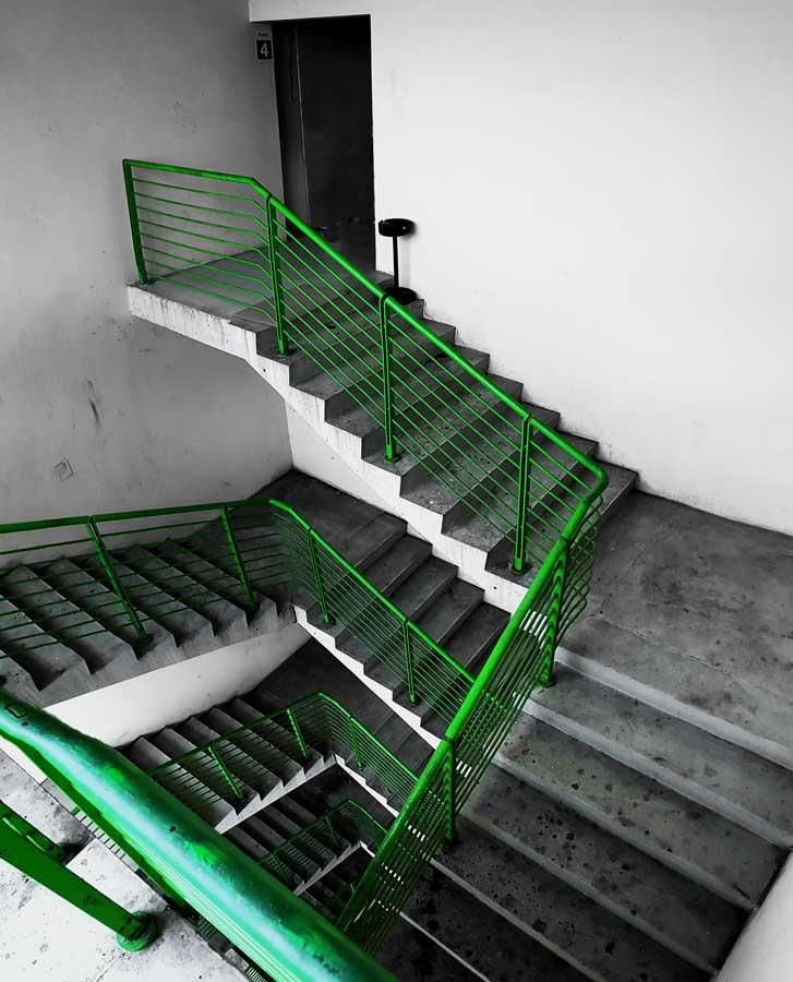 Torino eski Fiat fabrikası, mimar Mattè-Trucco'nun eseri sarmal servis merdiveni detayı - Lingotto old Fiat factory, Giacomo Mattè-Trucco, double helical staircase detail