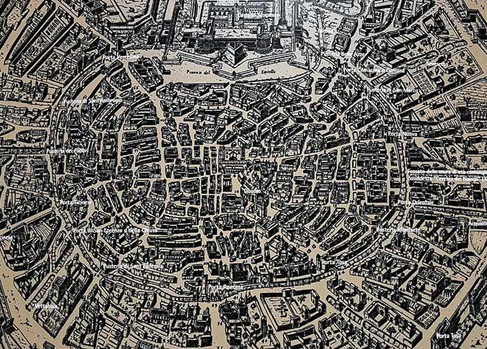 Sforzesco Şatosu içinde bulunan Milano kenti tarihi gravur kopyası - Historic engraving replica of the city of Milan, located in Sforzesco Castle