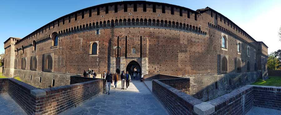 Sforzesco Şatosu veya Sforzesco Kalesi panoramik fotoğraf - Sforzesco Castle panoramic photos