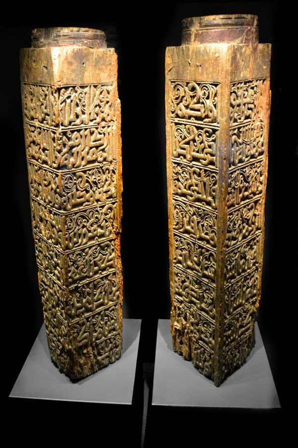 Türk ve İslam Eserleri Müzesi Eyyübi Dönemi ahşap sütunlar 13.yy - Turkish and Islamic Arts Museum Wooden Column Ayyubid Period 13th Century