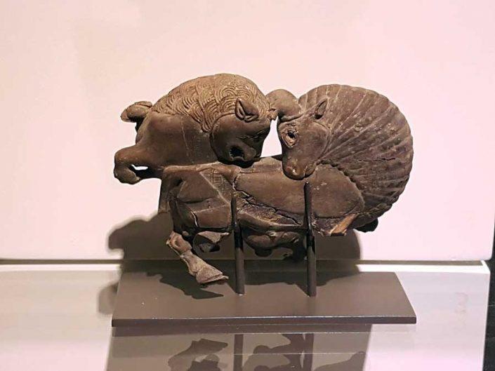 Anadolu Medeniyetleri müzesi Frig dönemi boğa ve aslan dövüşü heykeli - Anatolian Civilizations Museum Phrygian fight of bull and lion