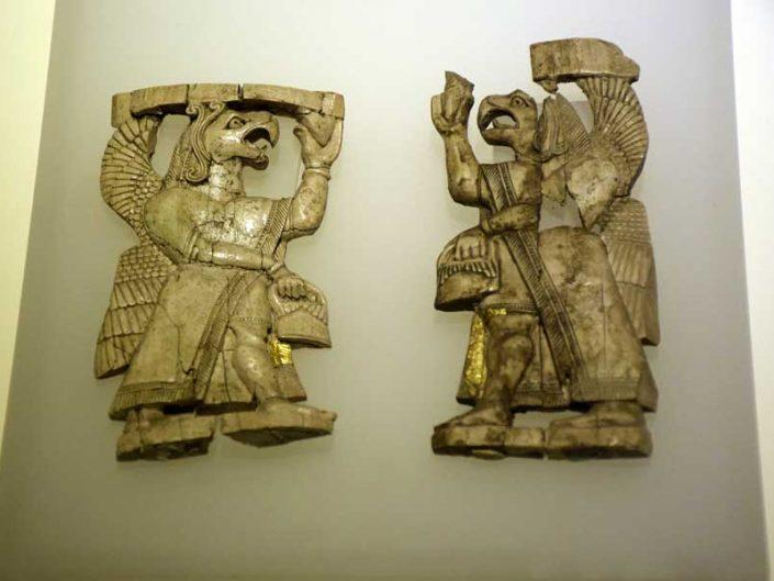 Anadolu Medeniyetleri Müzesi eserleri Urartu dönemi kanatlı cin, Altıntepe - Anatolian Civilizations Museum Urartu period winged demon