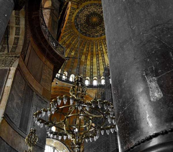 Ayasofya şamdanları ve ana kubbe - Hagia Sophia's chandeliers and great dome