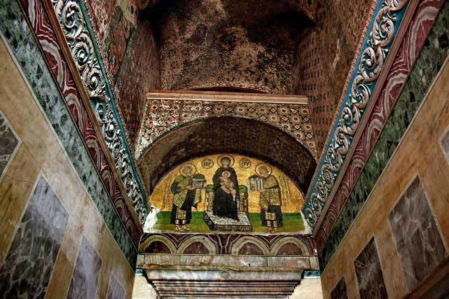 Ayasofya fotoğrafları Vestibül Mozaiği veya Sunu mozaiği - Hagia Sophia Vestibule mosaic or Offering Mosaic