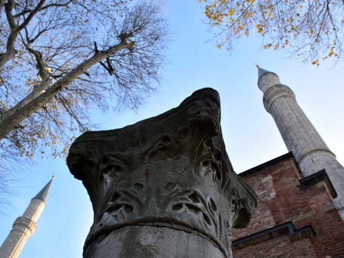Ayasofya minareleri ve sütun başlığı - Hagia Sophia photos column head and minarets