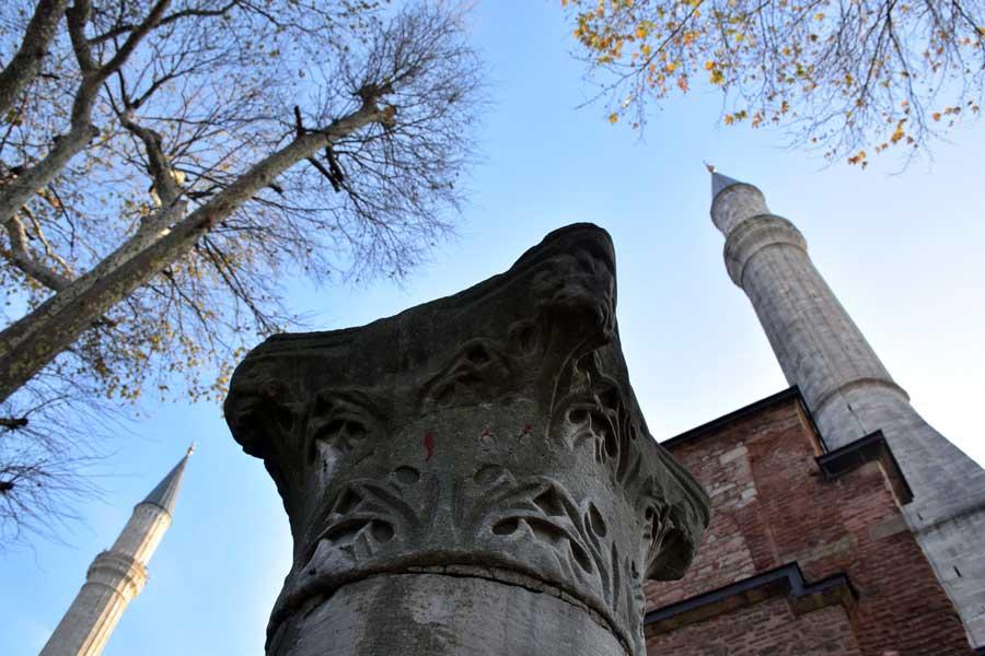 Ayasofya minareleri ve sütun başlığı - Hagia Sophia photos column head and minarets