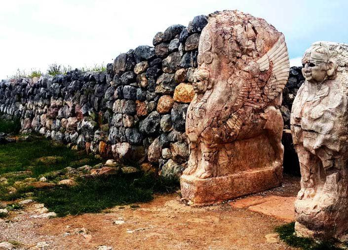 Hattuşa Boğazköy Hitit medeniyeti Sfenksli kapı fotoğrafları, Çorum - Hittite Sphinx gate at Hattusa photos, Turkey