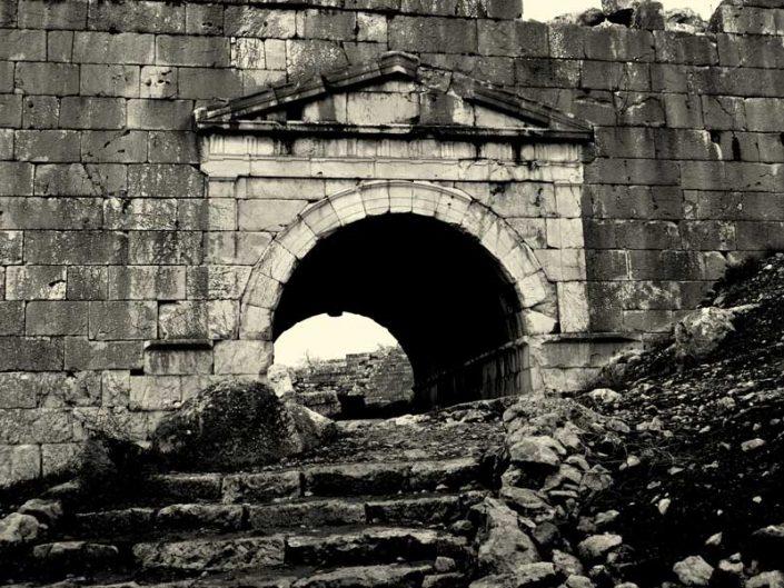 Letoon antik kenti tiyatroya çıkış - the Mediterranean region Letoon ancient city climbing to the theatre