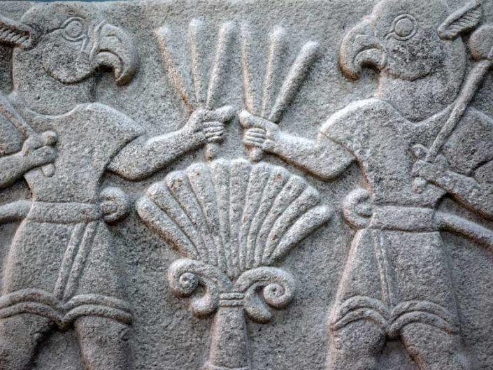 Malatya müzesi eserleri Arslantepe höyüğü Kanatlı demon orthostatı Geç Hitit dönemi MÖ 8yy - Arslentepe mound Late Hittites Age 8th centuries Winget demon orthostat