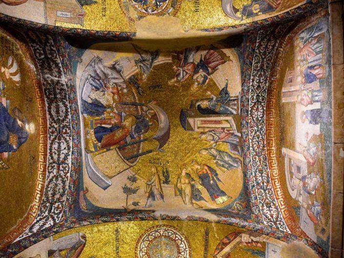 Kariye Kilisesi Müzesi Meryem'in tapınağa takdimi mozaiği - The Chora Church Museum The mosaic of the presentation of Mary to the temple