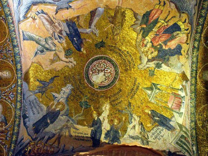Kariye Müzesi İsa'nın günaha teşvik edilmesi mozaiği - The Chora Museum mosaic of the Temptation scenes