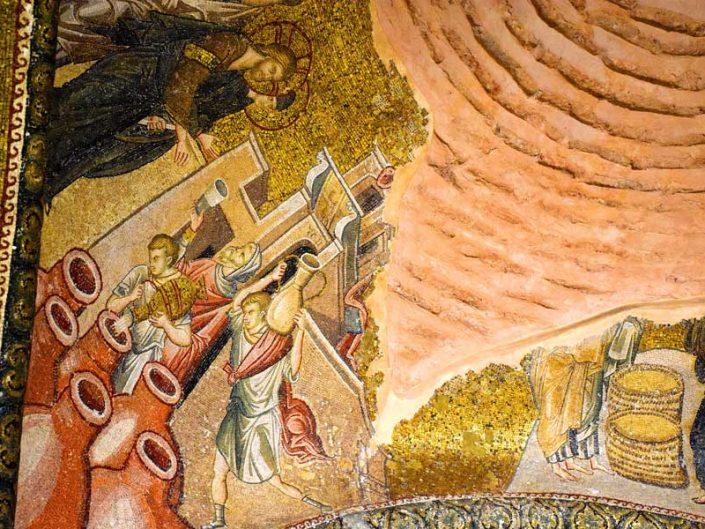 Kariye Müzesi Kana Mucizesi Hz İsa'nın suyu şaraba çevirmesi mozaiği - The Chora Museum mosaic of Marriage at Cana (When Jesus Turned Water into Wine)