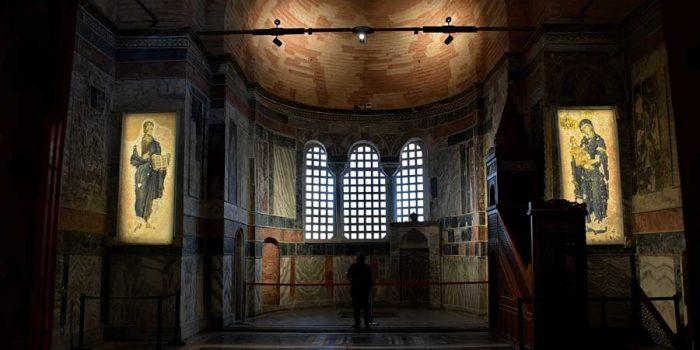 Kariye Müzesi Naos bölümü, mozaikler, mihrap ve minber detayları - Istanbul The Chora Museum the nave, mosaics, altar and mimbar