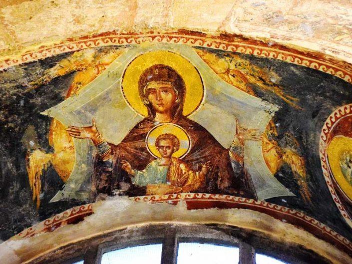 Kariye Müzesi Vlachernitissa veya Tanrı'nın annesi freski - The Chora Museum fresco of the Mother of God