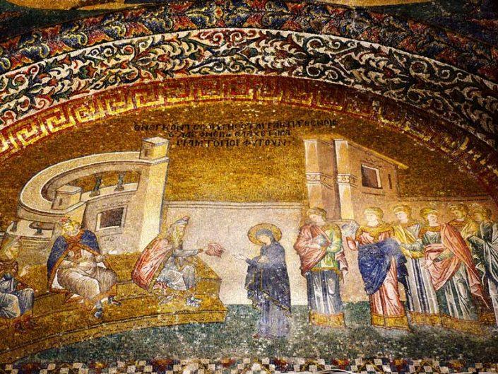 Kariye Müzesi fotoğrafları Mor Yün Çilesi mozaiği - mosaics of the Chora Museum skein of purple wool