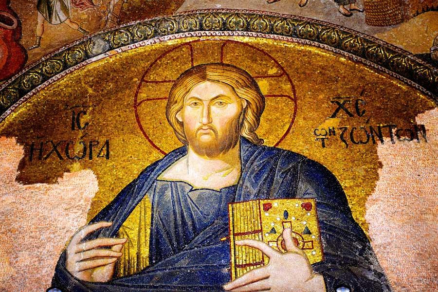 Kariye Müzesi fotoğrafları dış nartex Pantokrator İsa mozaiği - The Chora Museum Christ Pantocrator mosaic at outer narthex