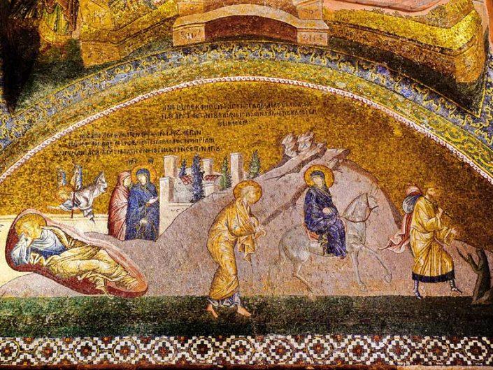 Kariye Müzesi mozaikleri Yusuf'un rüyası Beytlehem Yolculuğu mozaiği - The Chora Museum mosaics of Joseph's dream and the journey to Bethlehem