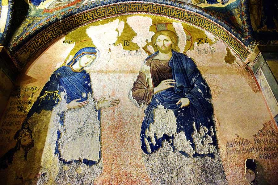 Kariye Müzesi mozaikleri fotoğrafları Deesis mozaiği - The Chora Museum mosaics Deesis mosaic at inner narthex
