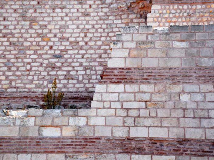 İstanbul Tekfur Sarayı veya Porfirogennetos sarayı iç avlu duvarı - Istanbul Tekfur Palace or Porfirogennetos Palace inner courtyard wall