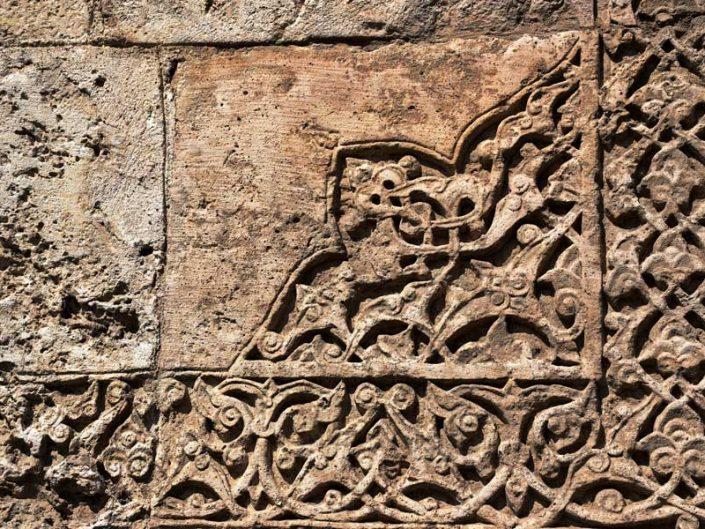 Çifte Minareli Medrese taş işçiliği ve süslemeleri - Sivas Rum Seljuk Sultanate architecture Cifte Minareli Madrasah masonry and stone decoration details