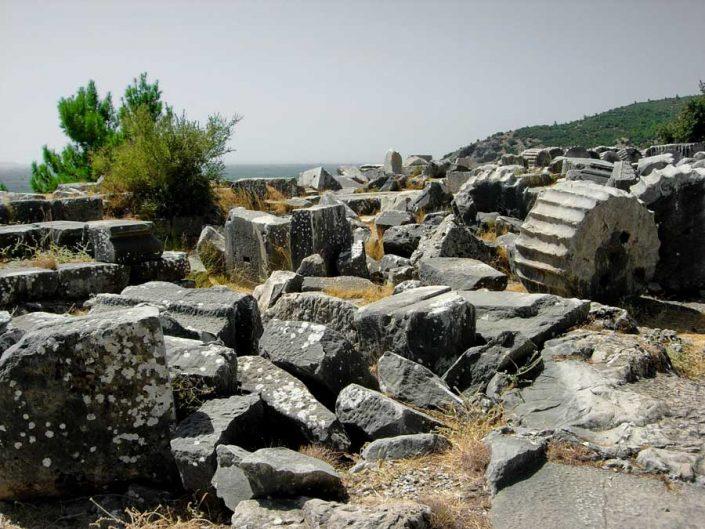 Aydın Priene antik kenti stoa kalıntıları - Stoa ruins of the ancient city of Priene