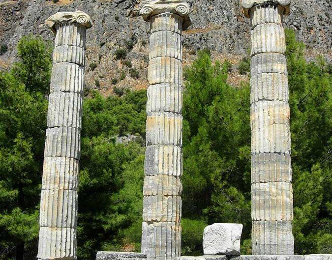 Priene antik kenti Athena tapınağı sütunları - Aydin Priene ancient city columns of Athena temple