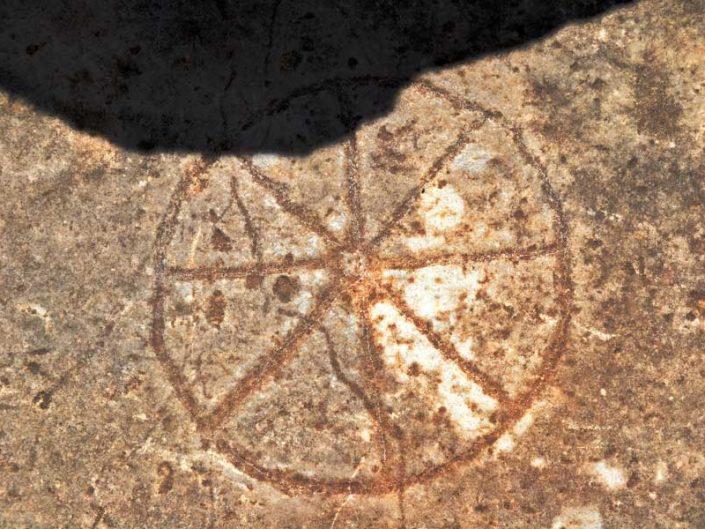 Priene antik kenti taş üzerinde sekizgen bezeme - Priene ancient city octagram carving on stone