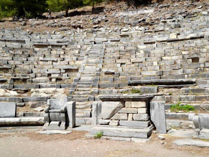 Priene antik kenti tiyatrosu orkestra ve cavea fotoğrafları - Priene ancient city Hellenistic theatre photos, orchestra and cavea